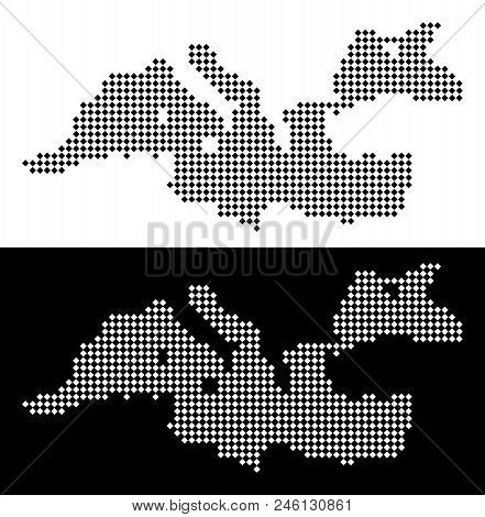 Vector Rhombic Dotted Mediterranean Sea Map. Abstract Geographical Maps In Black And White Colors On