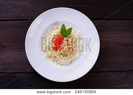 Seafood Pasta With Caviar And Shrimps, Delicious Traditional Italian Meals For Foodie. Restaurant Me