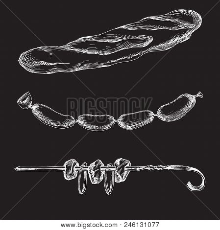Chalk Hand Drawing. Element For A Picnic-style Doodle On A Black Board Background. Set Of Products F