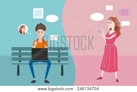 Illustration Of A Teenager Using Laptop In A Bench, Teenager Using Smartphone, Social Network, Chats