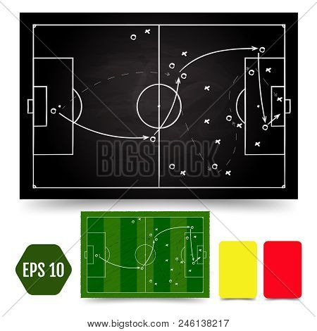 Soccer Game Tactical Scheme. Football Players Frame And Strategy Arrows On Chalk Black And Colored B