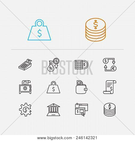 Money Payment Icons Set. Online Payment And Money Payment Icons With Wallet, Bill Invoice And Crypto