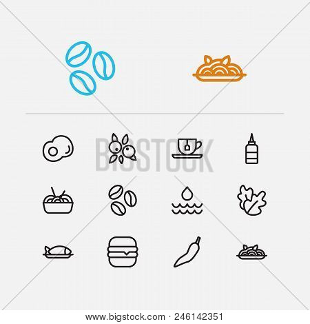 Food Icons Set. Noodle And Food Icons With Tea, Protein And Coffee Bean. Set Of Beverage For Web App