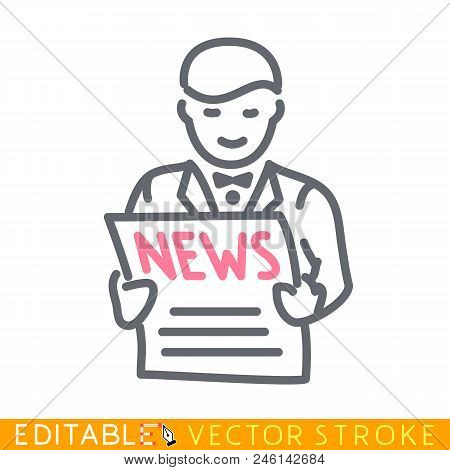 Man Is Reading Newspaper. Editable Stroke Sketch Icon. Stock Vector Illustration.