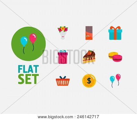 Gift-shop Icons Set. Macaroons And Gift-shop Icons With Shopping Basket, Chocolate And Bouquet. Set