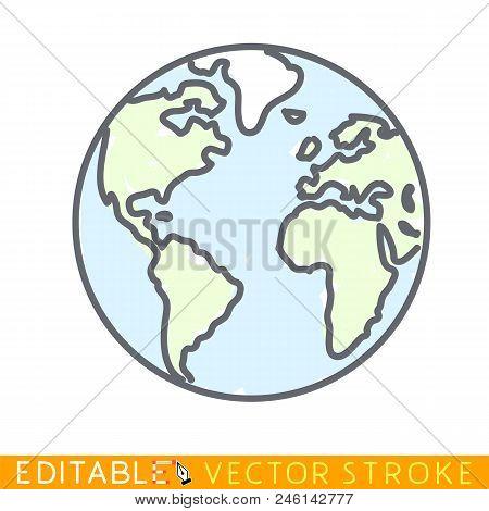 Doodle Globe. Editable Stroke Sketch Icon. Stock Vector Illustration.