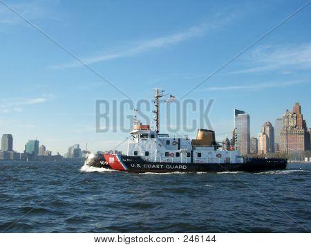 Us Coast Guard Boat Leaving Harbor