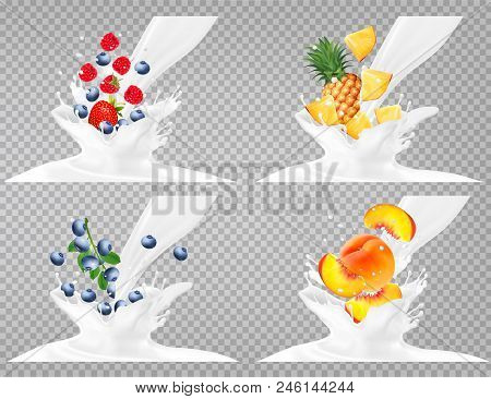 Collection Of Fruit In A Milk Splash. Strawberry, Raspberry, Blueberry, Peach,  Pineapple.  Vector S