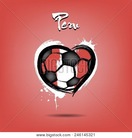 Abstract Soccer Ball Shaped As A Heart Painted In The Colors Of The Peru Flag. Vector Illustration