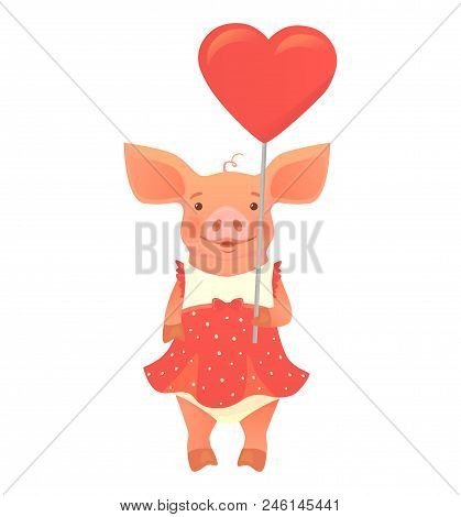 Cute Pig Holding Heart . Cute Animal. Heart Sign Vector Illustration. Pig In Overalls