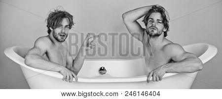 Homosexual Relations. Gay Men Or Unshaven Caucasian Macho Twins With Stylish Hair, Naked, Sexy Muscu