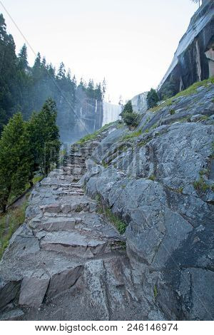 Granite Stone Steps Leading Up To Vernal Falls On The Mist Hiking Trail In Yosemite National Park In