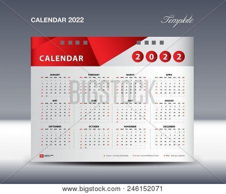 Calendar 2022 Template Vector, Week Starts Sunday, Stationery Design, Flyer Design Vector, Printing