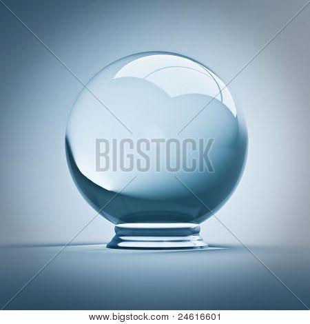 Bellas render 3d de la bola de cristal vacío