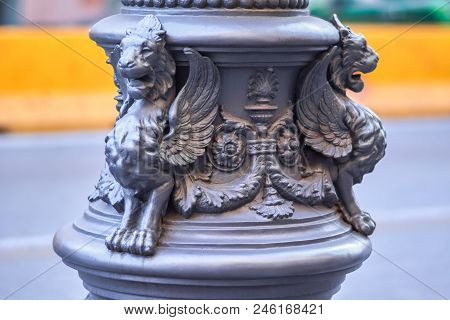 Fantasy Winged Lions Figures On The Lamppost, Italy