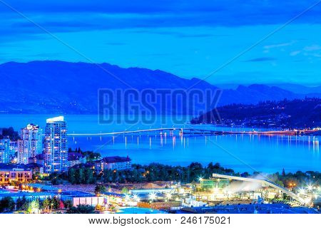 Sunset Blue Hour On Knox Mountain Showing William R. Bennett Bridge Linking Downtown Kelowna To West