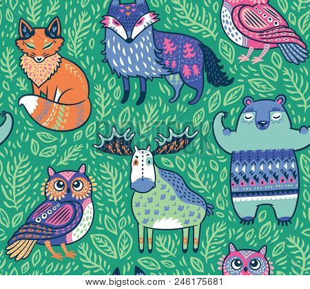 Seamless Bright Pattern With Woodland Animals In Green. Cartoon Style Surface Background.