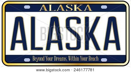 Alaska State License Plate In The Colors Of The State Flag With The Text Alaska Over A White Backgro