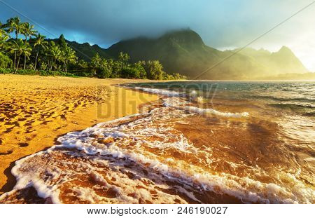Beautiful scene in Tunnels Beach on the Island of Kauai, Hawaii, USA