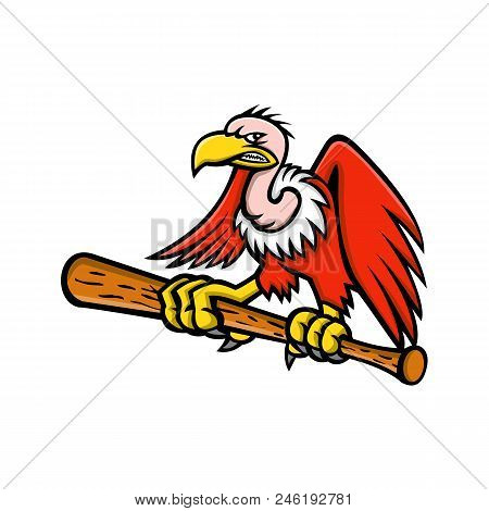 Mascot icon illustration of a Californian or Andean condor, vulture or buzzard, a scavenging bird of prey, clutching perching on a baseball bat viewed from front on isolated background in retro style. poster
