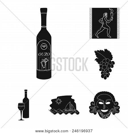 Country Greece Black Icons In Set Collection For Design.greece And Landmark Vector Symbol Stock  Ill