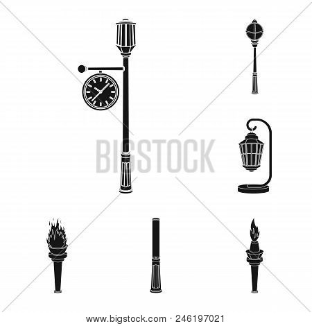 Lamp Post Black Icons In Set Collection For Design. Lantern And Lighting Vector Symbol Stock  Illust