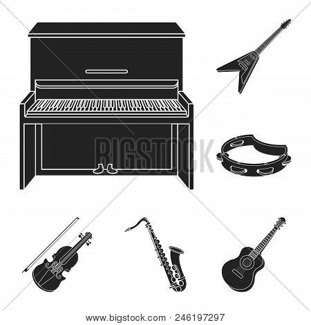 Musical Instrument Black Icons In Set Collection For Design. String And Wind Instrument Vector Symbo