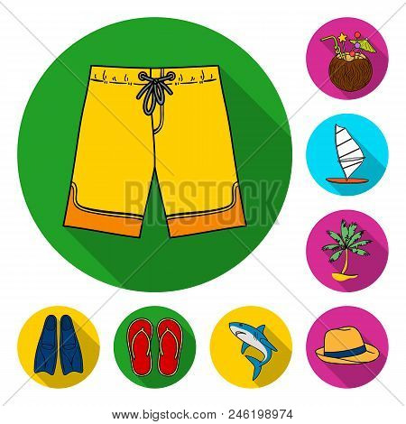 Surfing And Extreme Flat Icons In Set Collection For Design. Surfer And Accessories Vector Symbol St