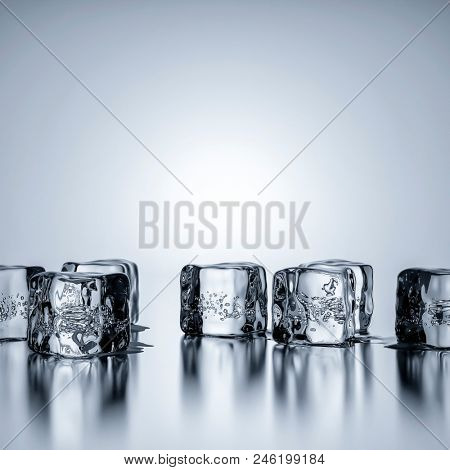 Some ice cubes with copy space for your content 3d illustration