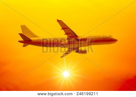 3d illustration of a flight in the sunset