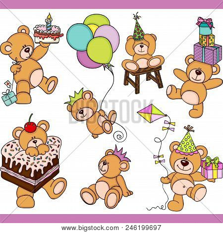 Scalable Vectorial Representing A Birthday Teddy Bear Set Digital Elements, Illustration With Elemen