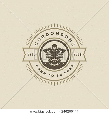 Atv Logo Emblem Vector Illustration. Off Road Mountains Expedition, Quad Bike And Man Silhouette Shi