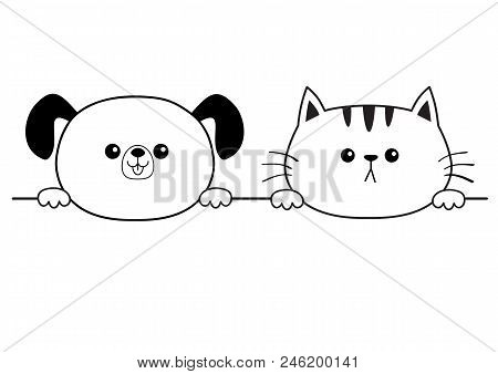 poster of Cat dog happy face head icon. Hands paw holding line. Contour silhouette. Cute cartoon pooch kitten character. Kawaii animal Funny baby puppy kitty Love card. Flat design White background Vector