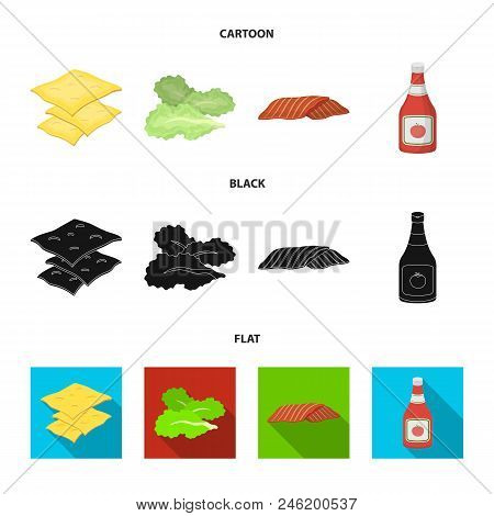 Burger And Ingredients Cartoon, Black, Flat Icons In Set Collection For Design. Burger Cooking Vecto