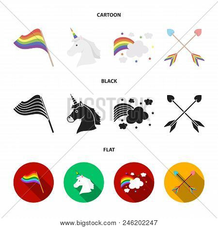 Flag, Unicorn Symbol, Arrows With Heart.gay Set Collection Icons In Cartoon, Black, Flat Style Vecto