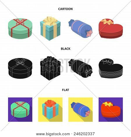 Gift Box With Bow, Gift Bag.gifts And Certificates Set Collection Icons In Cartoon, Black, Flat Styl