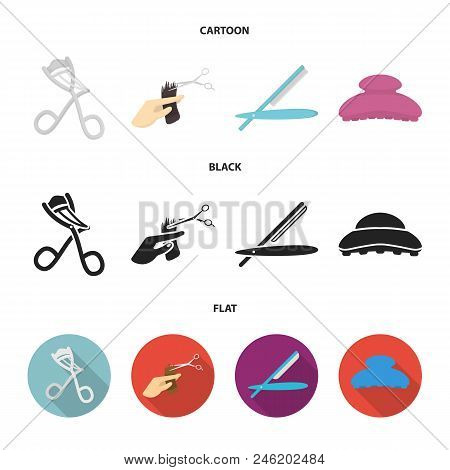 Scissors, Brush, Razor And Other Equipment. Hairdresser Set Collection Icons In Cartoon, Black, Flat