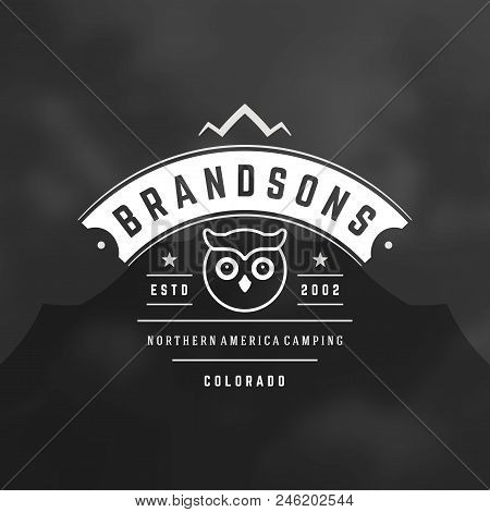 Mountains Logo Emblem Vector Illustration. Outdoor Adventure Expedition, Mountains And Owl Silhouett