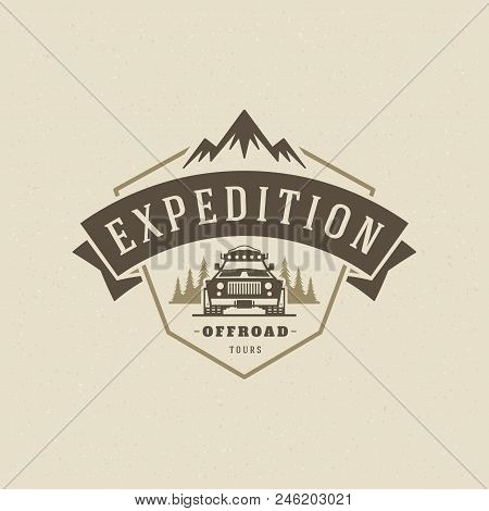 Off Road Cars Logo Emblem Vector Illustration. Outdoor Extreme Adventure Expedition, Safari Suv Silh