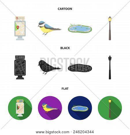 Territory Plan, Bird, Lake, Lighting Pole. Park Set Collection Icons In Cartoon, Black, Flat Style V