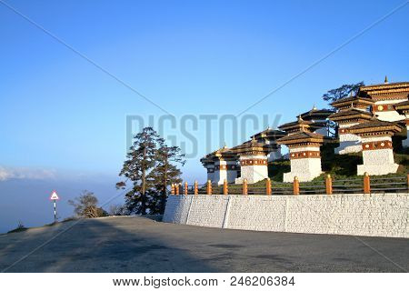 The 108 Chortens (stupas) Is The Memorial In Honour Of The Bhutanese Soldiers At  Dochula Pass On Th