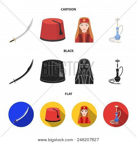 Turkish Fez, Yatogan, Turkish, Hookah.turkey Set Collection Icons In Cartoon, Black, Flat Style Vect
