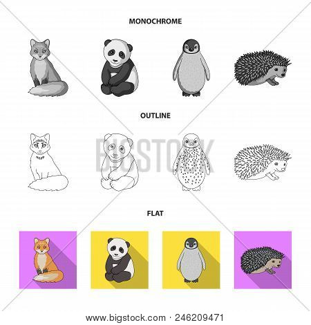 Fox, Panda, Hedgehog, Penguin And Other Animals.animals Set Collection Icons In Flat, Outline, Monoc