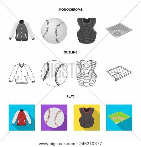 Playground, Jacket, Ball, Protective Vest. Baseball Set Collection Icons In Flat, Outline, Monochrom
