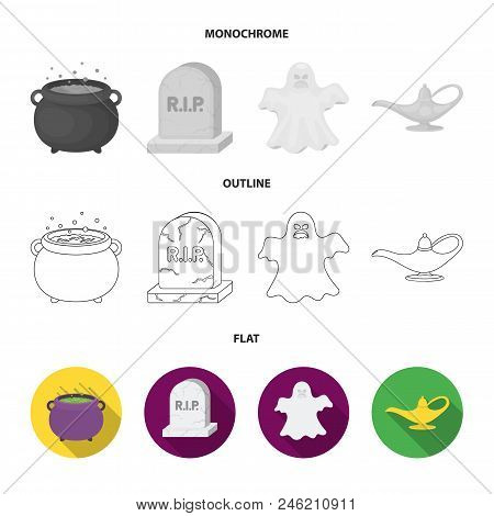 A Witch Cauldron, A Tombstone, A Ghost, A Gin Lamp.black And White Magic Set Collection Icons In Fla