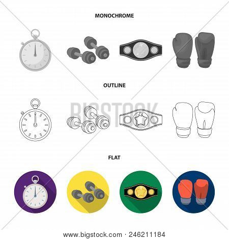 Boxing, Sport, Stopwatch, Watch .boxing Set Collection Icons In Flat, Outline, Monochrome Style Vect