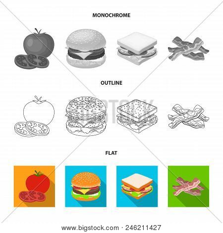 Burger And Ingredients Flat, Outline, Monochrome Icons In Set Collection For Design. Burger Cooking