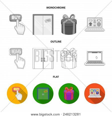 Hand, Click, Elevator, Gift, Box, Door, Online Store And Other Equipment. E Commerce Set Collection