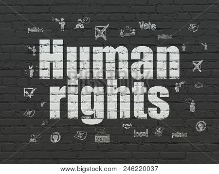 Politics Concept: Painted White Text Human Rights On Black Brick Wall Background With  Hand Drawn Po