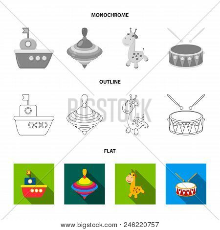 Ship, Yule, Giraffe, Drum.toys Set Collection Icons In Flat, Outline, Monochrome Style Vector Symbol